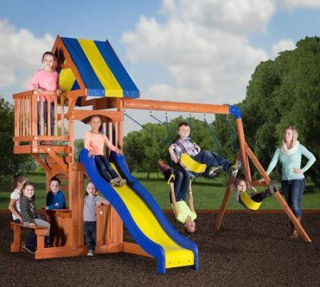 Backyard Discovery Peninsula Wooden Swing Set