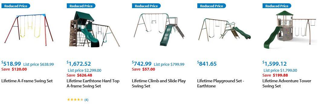 Lifetime Metal Swing sets, Walmart