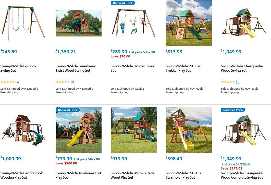 Swing N Slide Swing sets, Walmart