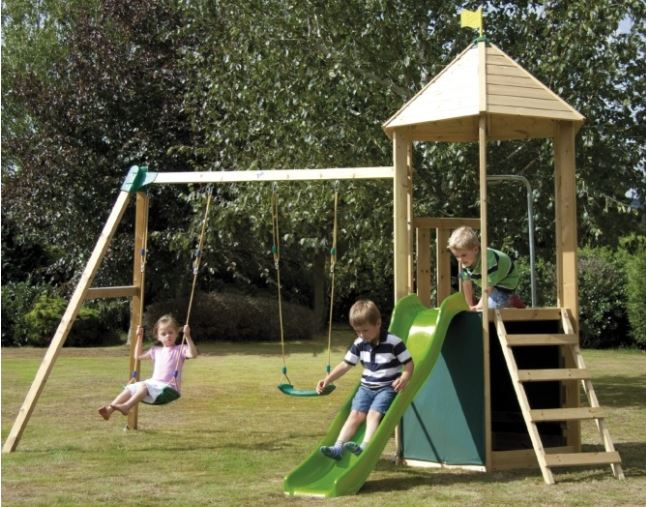TP Castlewood Tower with Double Swing Arm and Wavy Slide - FSC 609.95