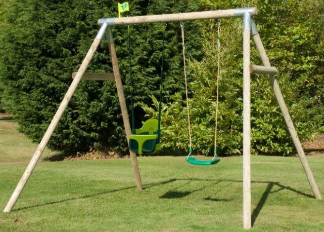 TP Double Round Wood Swing Set with Quadpod 2 & Deluxe seat £229.97