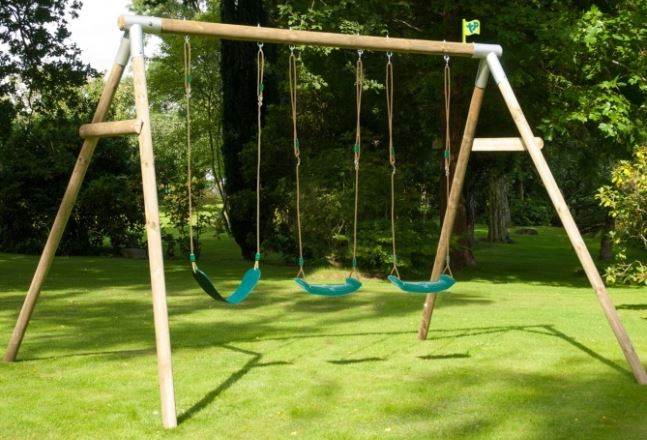 TP Triple Round Wood Swing Set with WrapAround seat and Deluxe Swing Seats - FSC £269.96