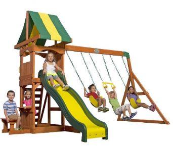1. Backyard Discovery 65113 Weston All Cedar Playset Swing Set