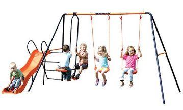 Children's Hedstrom Double Swing Glider & Wavy Chute Slide