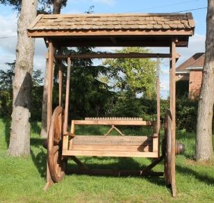 Reclaimed Teak Wagon Wheel Swing Bench