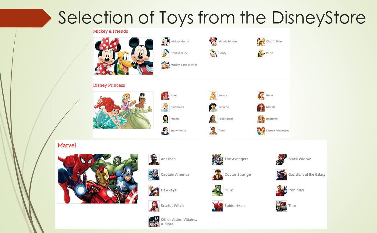 Toy selection and brands Disney store