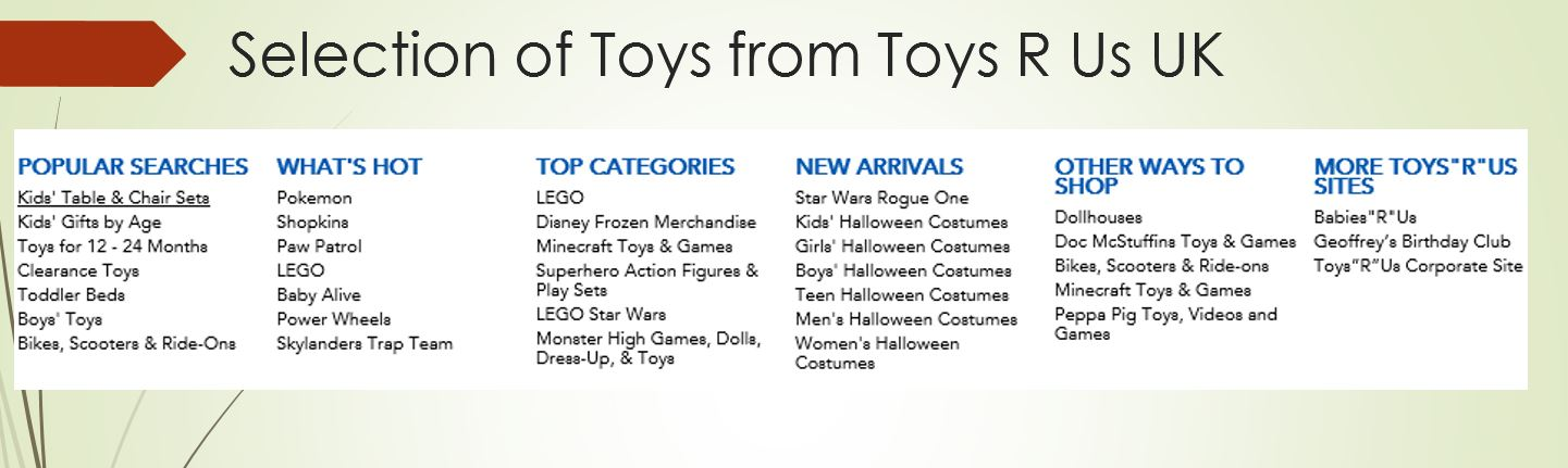 Toy selection from Toys R Us UK