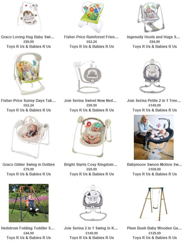 Baby Swings UK, Toys R Us UK