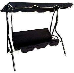 Black Outdoor Garden 3 Seater Metal Swing