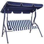Charles Bentley Garden 2 Seater Garden Patio Swing Seat blue Amazon UK