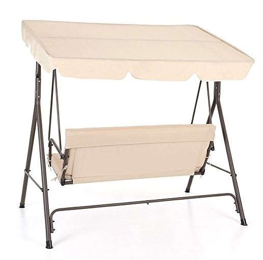 IKAYAA Patio Swing Chair Garden Swing Chair 3 Seater