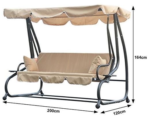 Outsunny Swinging 3 Seater Garden Hammock Swing