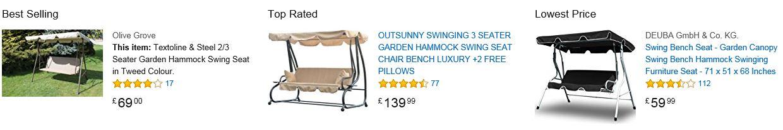 Olive Grove Textoline & Steel 3 Seater Garden Hammock Swing 4
