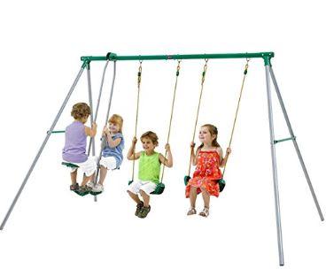 Plum Jupiter Outdoor Play Metal Garden Swing Set With Double Swing