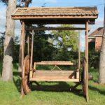 Reclaimed Teak Wagon Wheel Swing Bench