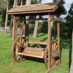 Reclaimed Teak Wagon Wheel Swing Bench 2 Garden Furniture centre
