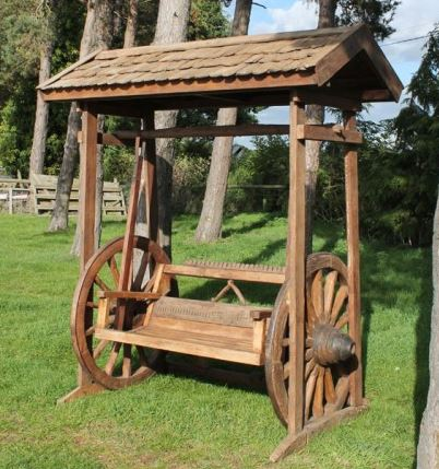 Terrific Reclaimed Teak Wagon Wheel Swing Bench 2 Garden Furniture Pabps2019 Chair Design Images Pabps2019Com