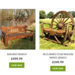 Reclaimed Teak Wagon Wheel Swing Bench related products Garden Furniture centre