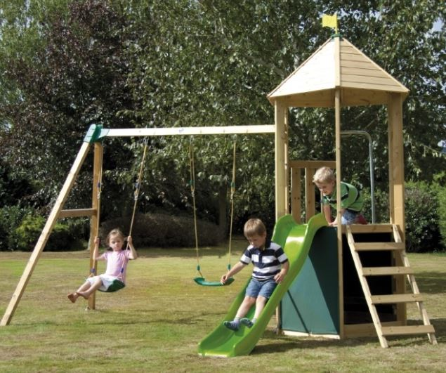 TP Castlewood Tower with Double Swing Arm and Wavy Slide