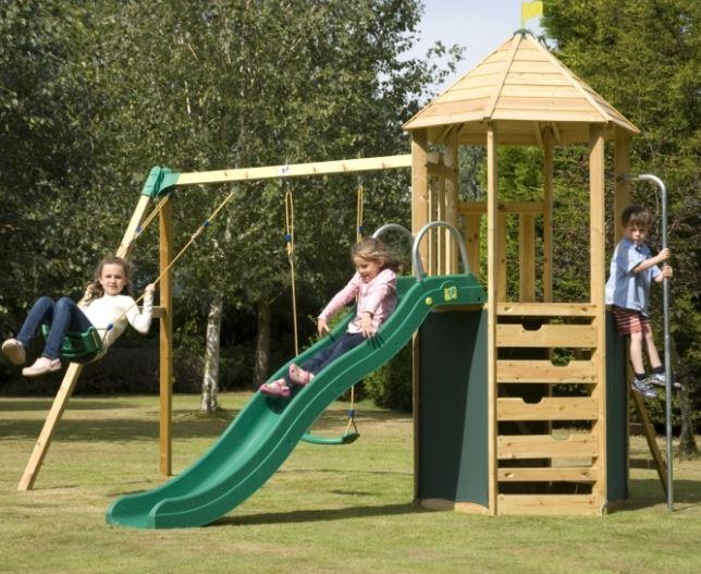 TP Castlewood Tower with Swing Arm, Den Pack & Crazywavy Slide