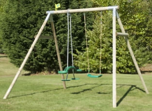 TP Double Roundwood Swing Set with Skyride