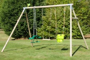 TP Triple Round Wood Swing Frame with Skyride
