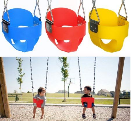 Ancheer High Full Bucket Swing With Coated Chain Toddler Swingset