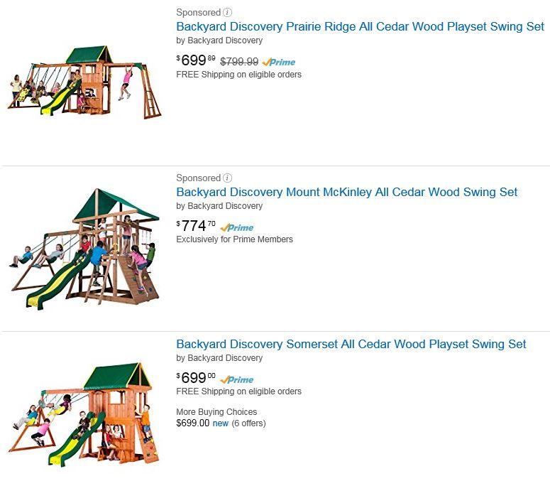 Backyard discovery swing sets, Amazon, Los Angeles