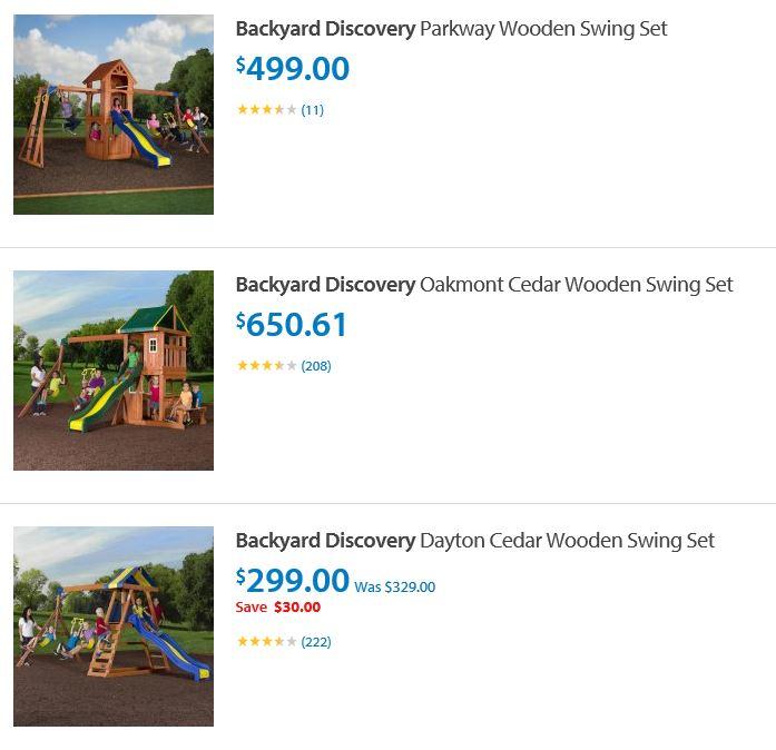 Backyard discovery swing sets Walmart Califormia