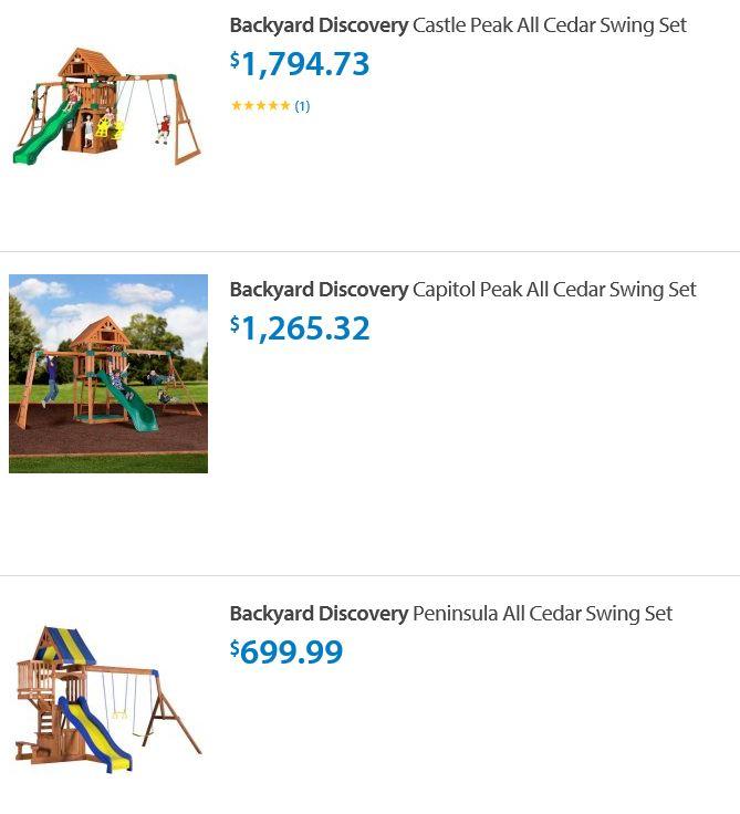 Backyard discovery swing sets Walmart Illinois