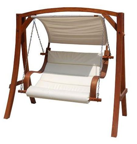 Charles Bentley 2-3 Seater Larch Wooden Garden Outdoor Swing 1
