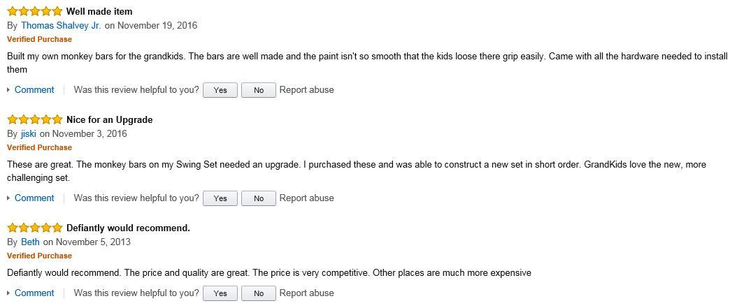 Eastern Jungle Monkey Bars positive reviews