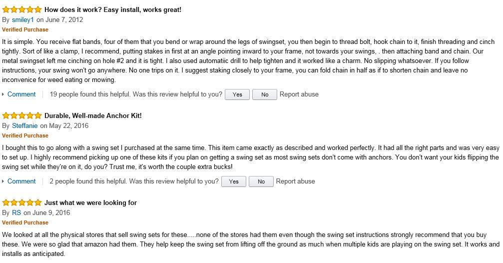 Flexible Flyer Swing Set Anchors good reviews