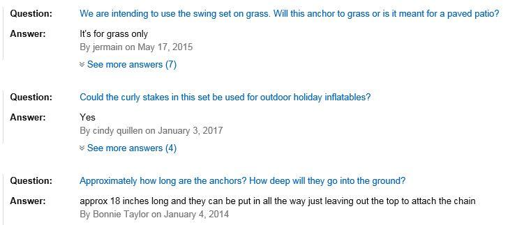 Flexible Flyer Swing Set Anchors questions