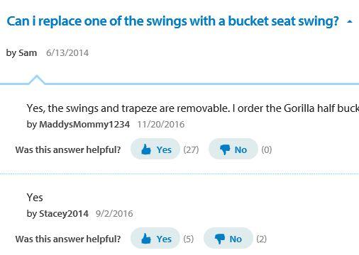 Flexible flyer fun time metal swing set, Walmart question 2 bucket swing