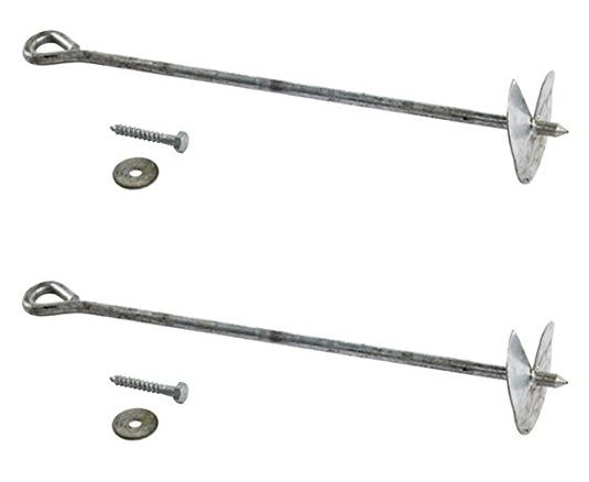 Ground Anchors - 12mm Solid Galvanised Steel 2 pk