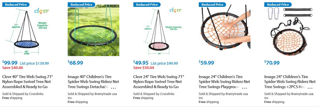Spider web swings from Walmart