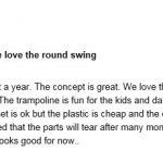 Sportspower Mountain view Metal Swing Set Amazon poor review