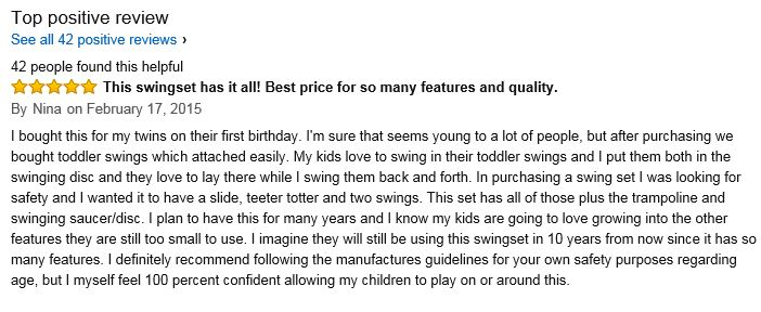 Sportspower Moauntain view Metal Swing Set Amazon top review