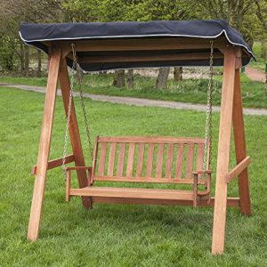 Wooden Swing Seat for 2 with Black Canopy