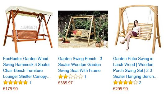 wooden Garden Swing 2 & 3 Seat Chair Seat Hammock Bench 3
