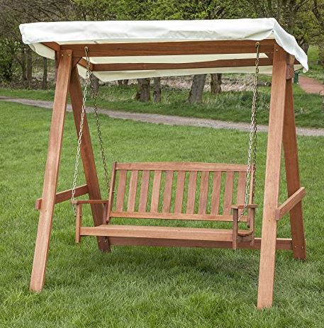 wooden Swing Seat for 2 with Black Canopy 3