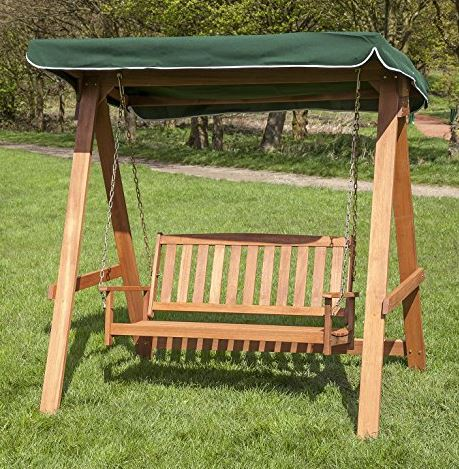 wooden Swing Seat for 2 with Black Canopy 4