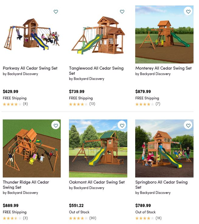 Backyard Discovery Swing Sets 2, Wayfair