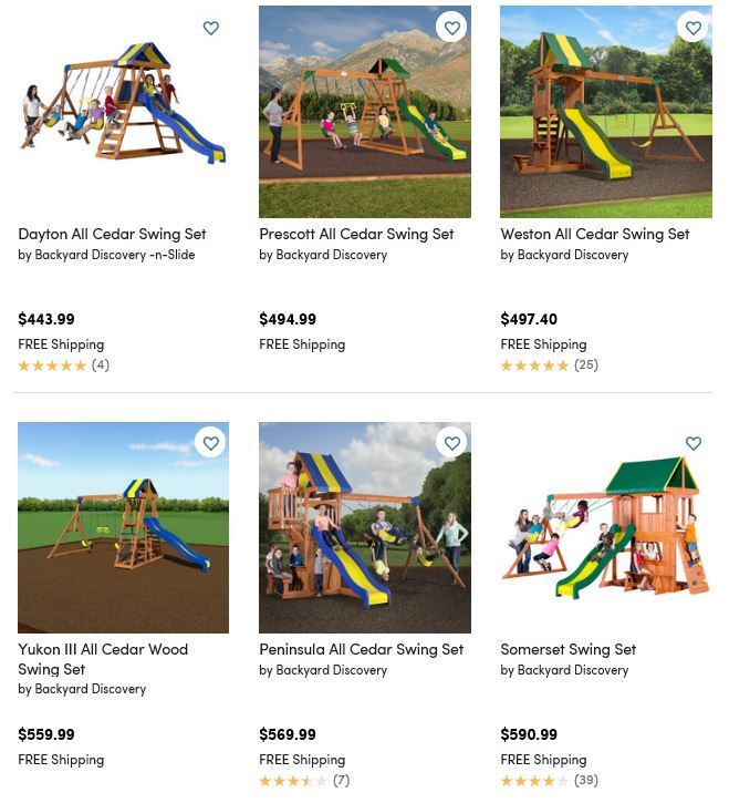 Backyard Discovery Swing Sets, Wayfair