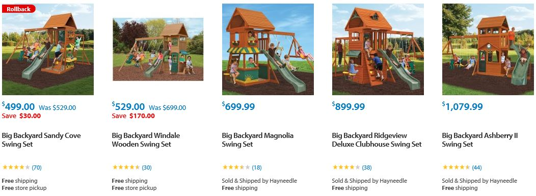 Big Backyard Swing set range from Walmart