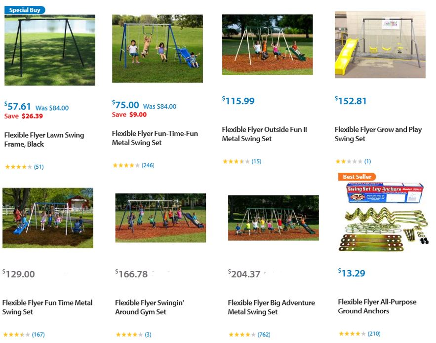 Flexible Flyer Swing sets, Walmart