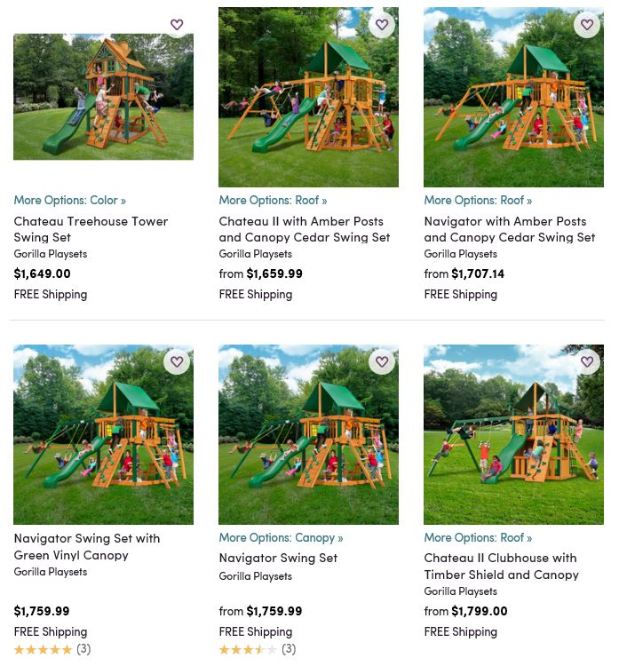 Gorilla Playset Range from Wayfair