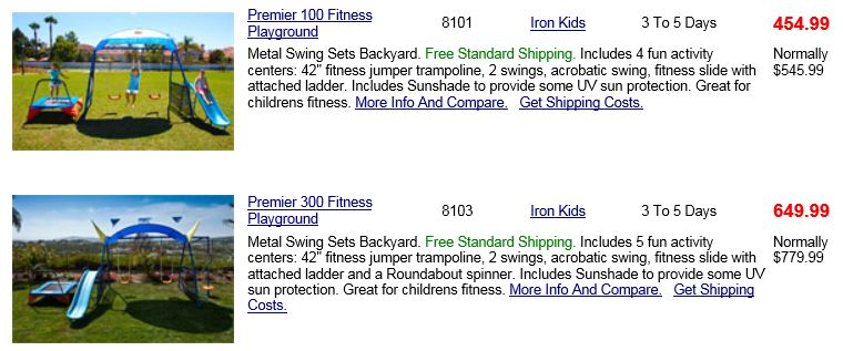 Ironkids Swing sets reviewed at Willygoat