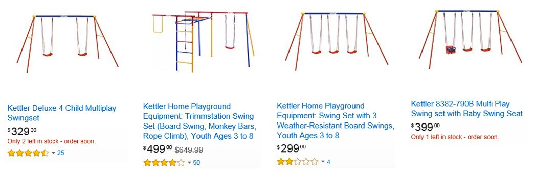 Kettler Swing Sets Competitive Prices From These 3